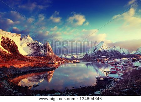 snow in Reine Village, Lofoten Islands, Norway