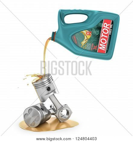 Pouring engine oil from its plastic container. Motor oil. 3d illustration