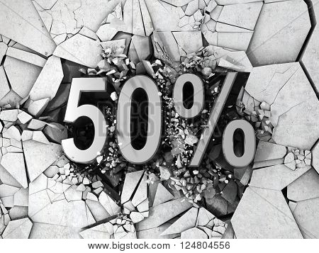 Drop price by 50 percent. 3D Illustration.