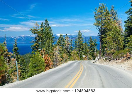 scenic route along the Lake Tahoe, USA