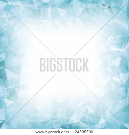Azure Polygonal Background. Azure Crystal Triangle Pattern