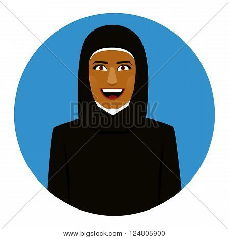 Blue Round icon of smiling muslim girl in hijab.