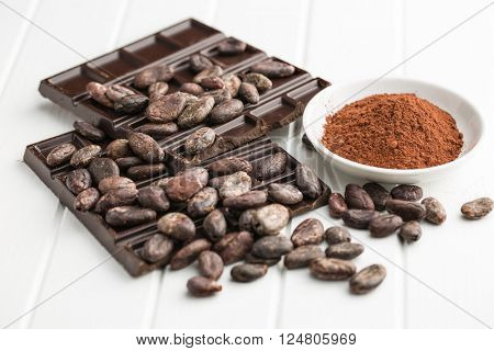 the dark chocolate, cocoa beans and cocoa powder
