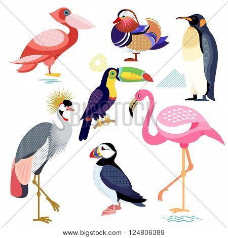 Birds puffin mandarin duck flamingos toucan pelican penguin Crowned Crane. Set of vector birds - flat icons. Illustration of birds isolated on white background.