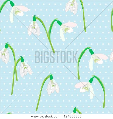 Snowdrops on a blue background. Spring vector illustration. Spring background. Seamless pattern with snowdrops. For packaging prints on fabric backgrounds different card