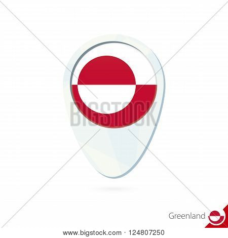 Greenland Flag Location Map Pin Icon On White Background.