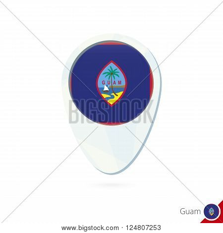 Guam Flag Location Map Pin Icon On White Background.