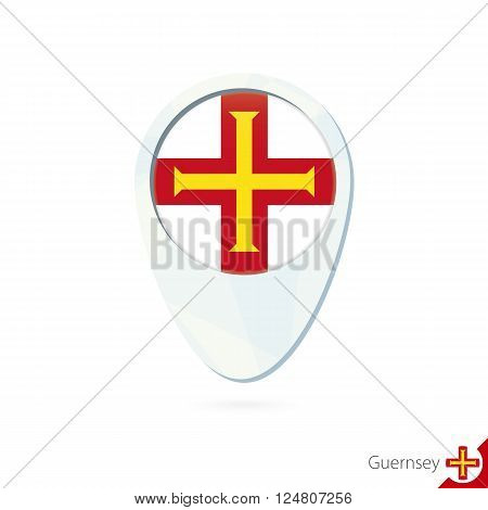 Guernsey Flag Location Map Pin Icon On White Background.