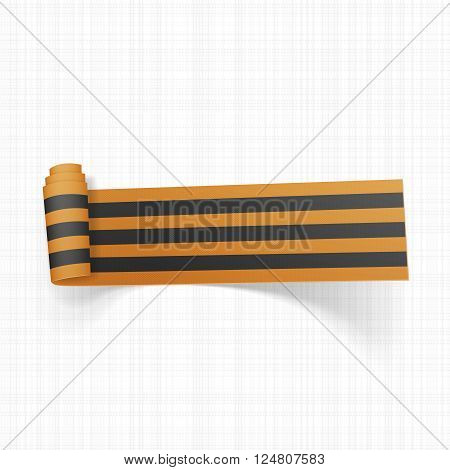 Victory Day Saint George festive black and golden Ribbon. Vector Illustration