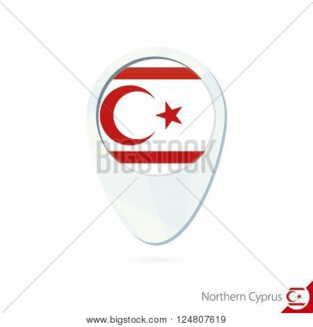 Northern Cyprus Flag Location Map Pin Icon On White Background.