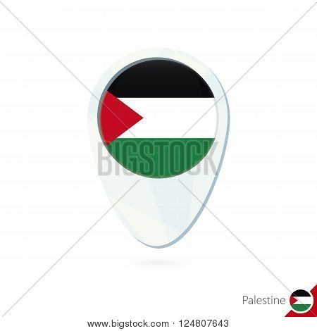 Palestine Flag Location Map Pin Icon On White Background.