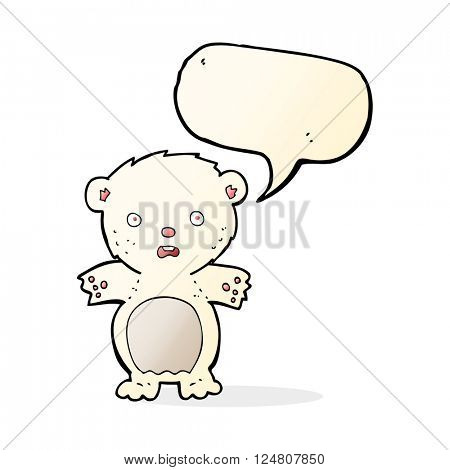 frightened polar bear cartoon with speech bubble
