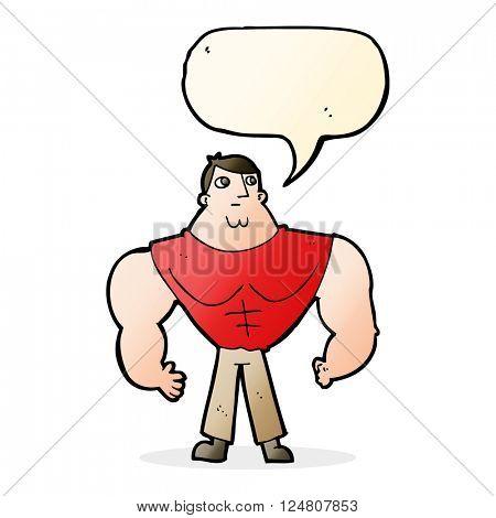 cartoon body builder with speech bubble