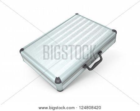 3d illustration of an metal case with black handle isolated on white