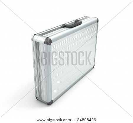 3d illustration of an closed metallic case isolated on a white bacground