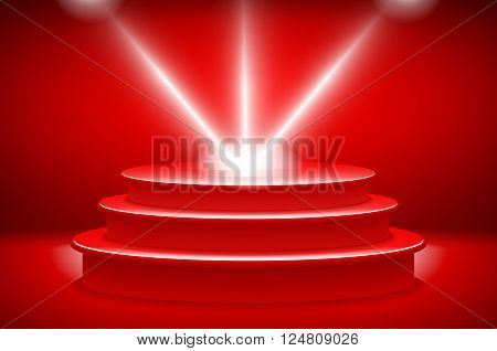 Theatrical Background.scene And Red Curtains.red Podium On A Background Of Red Drape Curtains.vector