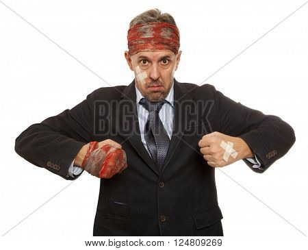 Businessman with bruised head, funny businessman