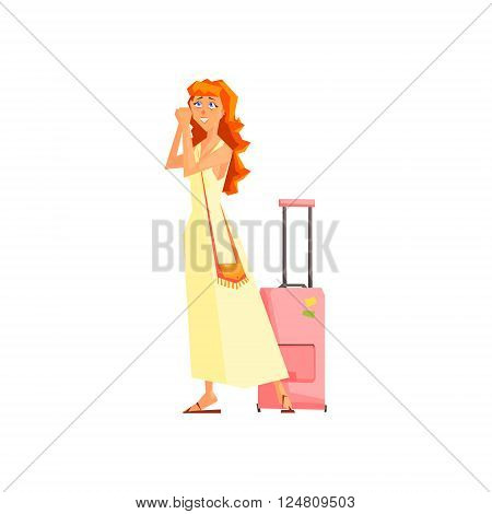Female Tourist With Bag Flat Colorful Vector Illustration In Primitive Geometric Style Isolated On White Background