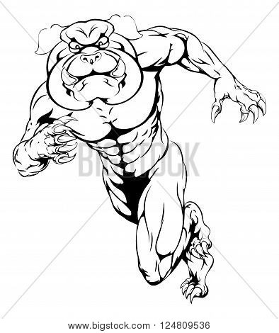 Sprinting Bulldog Mascot