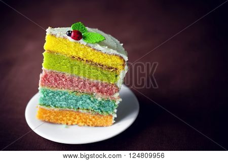 Rainbow cake decorated with a ladybug on the top.