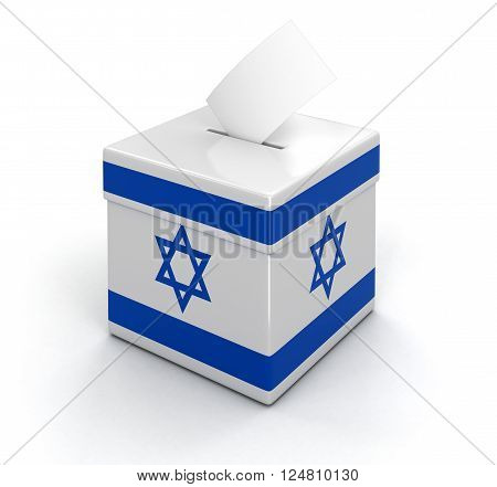 Ballot Box with Israeli flag. Image with clipping path