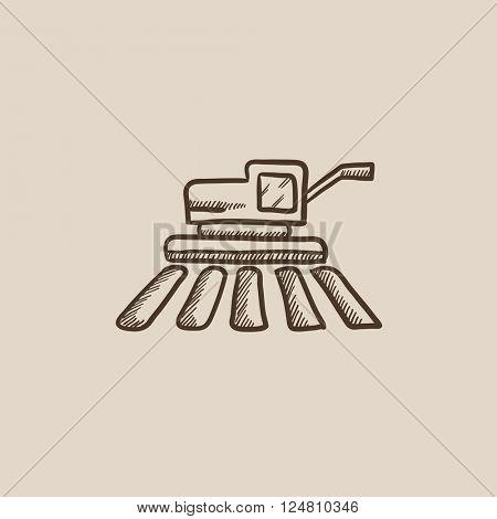 Combine harvester sketch icon.