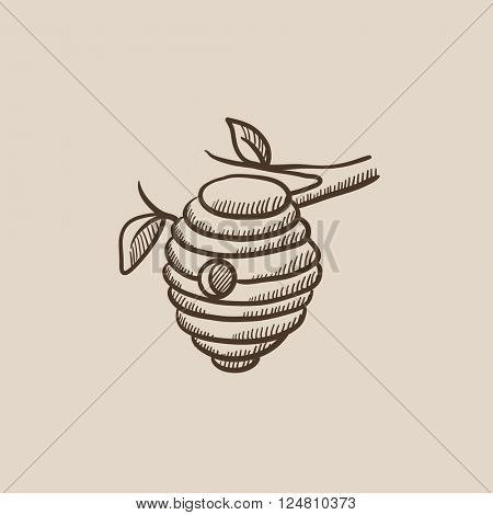 Bee hive sketch icon.