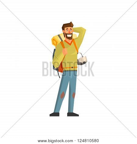 Male Bacpacker Tourist Flat Colorful Vector Illustration In Primitive Geometric Style Isolated On White Background