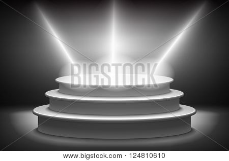 Stage For Awards Ceremony. Black Podium. Pedestal. Scene. Spotlight. 3D Vector. Vector Illustration.