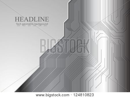 Abstract metallic background with circuit board. Vector grey technology design