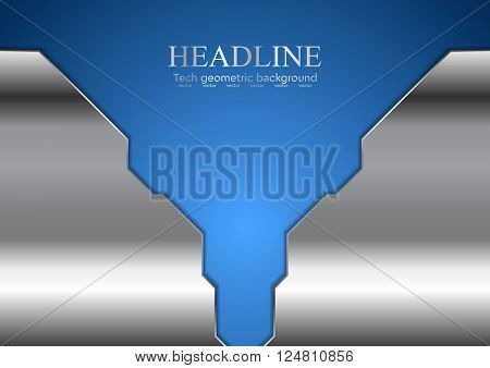 Abstract blue corporate design with metallic elements. Vector background