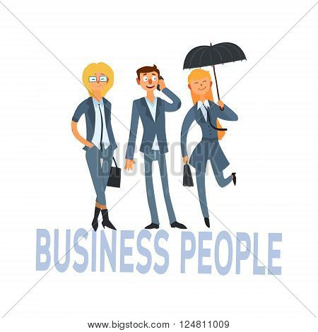 Business People Set Of Three Person In Suits Simple Style Vector Illustration With Text On White Background