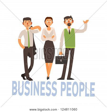 Business People Set Of Three Person In Office Dress Code Clothes Simple Style Vector Illustration With Text On White Background