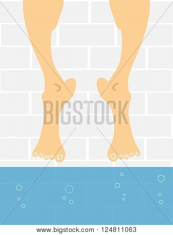 A pair of male or female feet dangling above the water in a swimming pool as if the person is afraid to take the plunge and get their feet wet