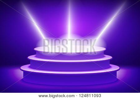 Violet Illuminated Stage Podium For Award Ceremony Vector Illustration