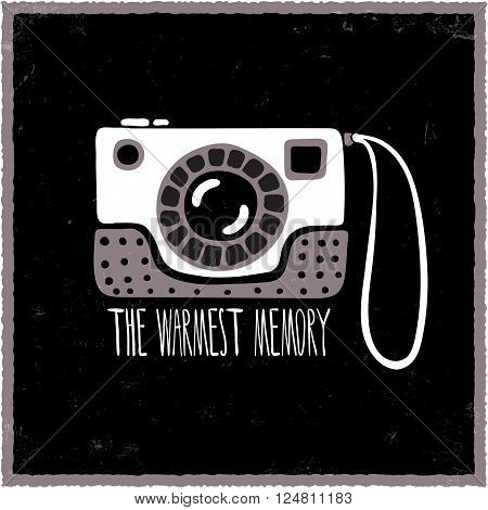 Hand drawn photo camera. Vector illustration with photo camera on black background with lettering. Isolated camera icon. Photo camera design element. Monochrome camera. Vintage style photo camera.