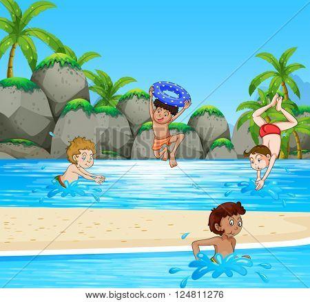 Boys having fun at the beach illustration