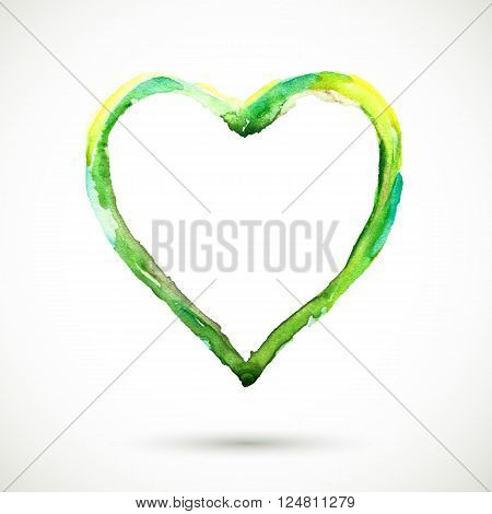 Vector handmade background. Vector watercolor frame. Hand drawn. Vector watercolor green heart background. Colorful abstract texture. Vintage organic background. Green heart vector.