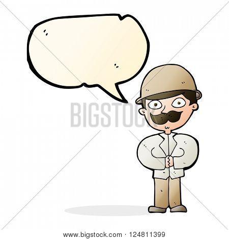 cartoon man in safari hat with speech bubble