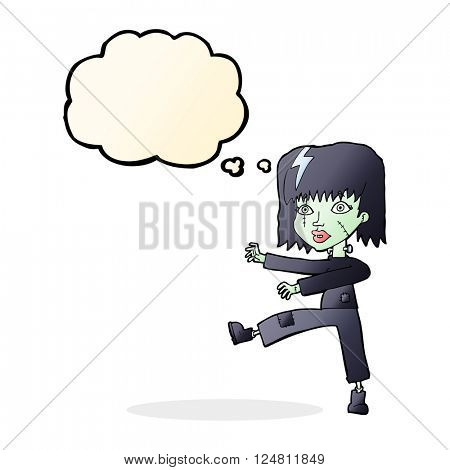 cartoon zombie girl with speech bubble