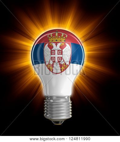 Light bulb with Serbian flag.  Image with clipping path