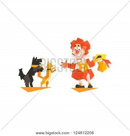 Circus Clown Pet Trainer Performing Graphic Flat Vector Design Isolated Illustration On White Background