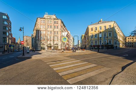 Moscow Russia - March 27 2016: the Intersection of butcher street Butcher travel and Big Kozlovsky lane.
