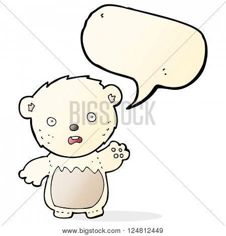 cartoon worried polar bear with speech bubble