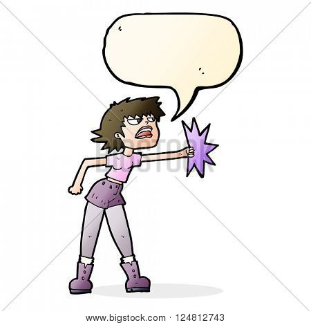 cartoon woman punching with speech bubble