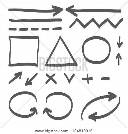 Hand drawn arrows vector set icon illustration perfect for web office right left up and down