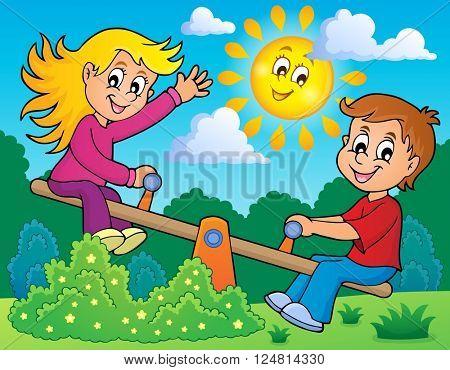 Children on seesaw theme image 2 - eps10 vector illustration.