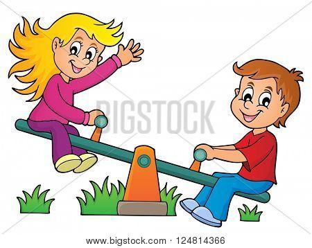 Children on seesaw theme image 1 - eps10 vector illustration.