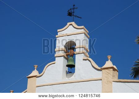 Church bell tower (Iglesia de la Vera Cruz) in town centre Alora Malaga Province Andalusia Spain Western Europe.