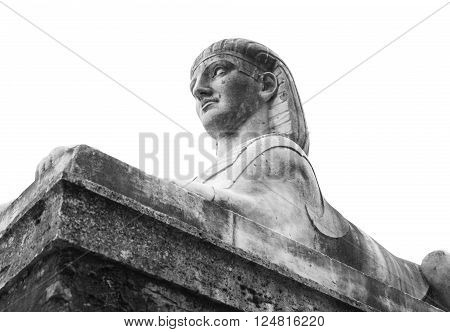 Ancient Statue Of Sphinx Isolated On White